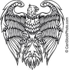 adelaar, griffin, machtig, of