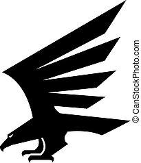 adelaar, heraldisch, vector, black , geometrisch, pictogram