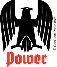 adelaar, heraldisch, vrijstaand, imperiaal, vector, black , pictogram
