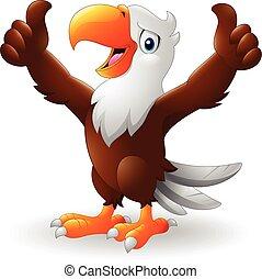 adelaar, het opgeven, twee, duimen, spotprent