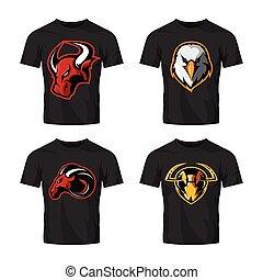 adelaar, hornet, vector, logo, stier, sportende, vrijstaand, furieus, ram, witte achtergrond, set, concept