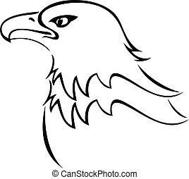 adelaar, kaal, silhouette, logo