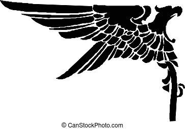 adelaar, schets, ouderwetse , heraldisch, vector., icon.