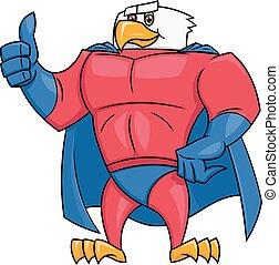 adelaar, superhero, duim, gebaar, op
