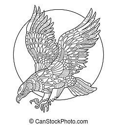 adelaar, vogel, kleurend boek, voor, volwassenen, vector