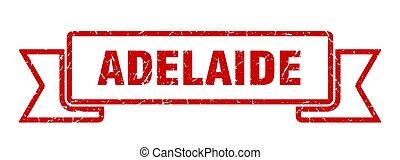 Adelaide ribbon. Red Adelaide grunge band sign