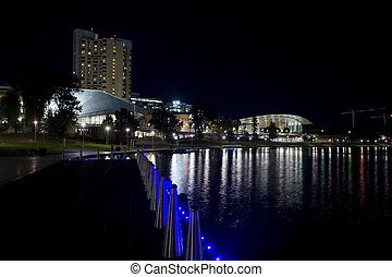 Adelaide at night - Part of Adelaide skyline amd River ...