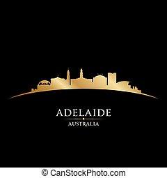 Adelaide Australia city silhouette black background