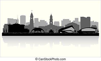 Adelaide Australia city skyline silhouette