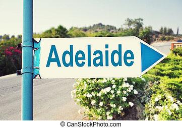 adelaide, australia, straße zeichen