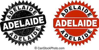 ADELAIDE Black Rosette Stamp with Grunged Texture