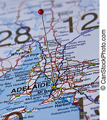 Adelaide city - Adelaide in Australia in the map