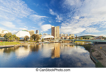 Downtown area of Adelaide city in Australia in daytime