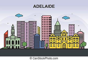 Adelaide City Tour Cityscape Skyline Colorful Illustration