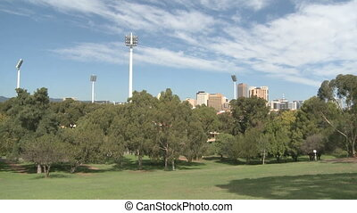 Adelaide Cityscape Skyline view in the park