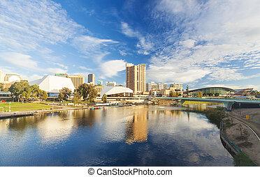 adelaide, ciudad, en, australia, durante, el, día