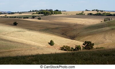 Adelaide hills with farm fields, time-lapsed