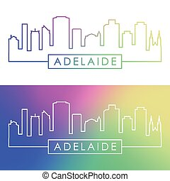 Adelaide skyline. Colorful linear style.