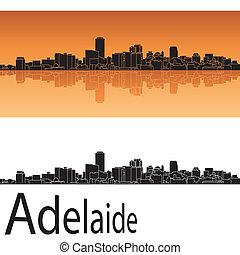 Adelaide skyline in orange background in editable vector file