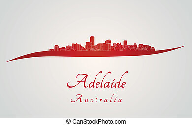 Adelaide skyline in red and gray background in editable vector file
