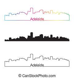 Adelaide skyline linear style with rainbow in editable vector file