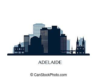 Adelaide skyline, monochrome silhouette. Vector illustration.