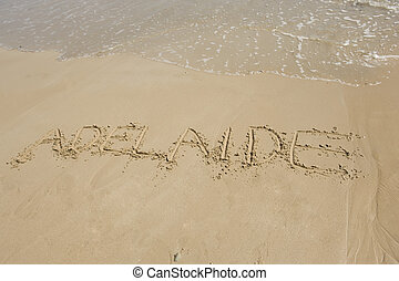 Adelaide, South Australia - Adelaide written in the sand of...