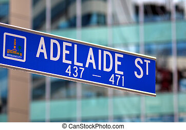 Adelaide street signpost -Brisbane Australia