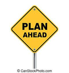 adelante, amarillo, roadsign, ilustración, plan, 3d