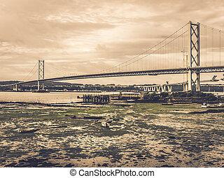 adelante, carril, y, camino, puentes, en, edimburgo