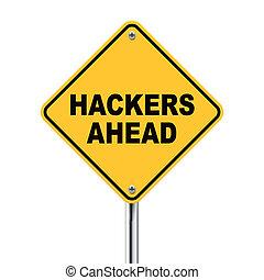 adelante, hackers, ilustración, roadsign, amarillo, 3d
