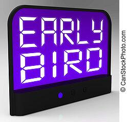 adelante, horario, reloj, o, temprano, puntualidad, pájaro, exposiciones