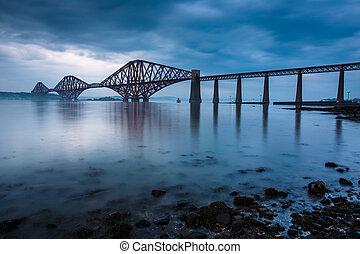 adelante, puentes, en, edimburgo, escocia
