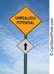 adelante, señal, potencial, poste, de motivación, unrealized