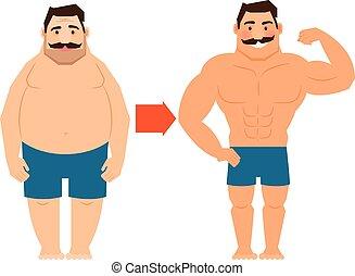 adelgaçar, bigode, homem gordo