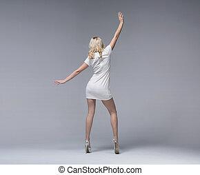 adelgaçar, loiro, atraente, menina, desgastar, elegante, vestido