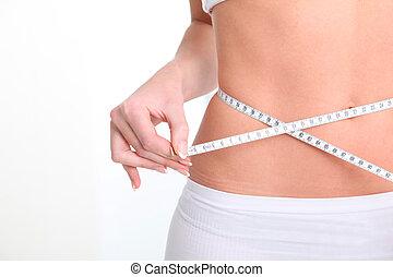 adelgaçar, mulher, cintura, e, medida, fita