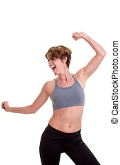 adelgaçar, mulher, fazendo, exercício, ou, dança, classe