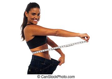 adelgaçar, mulher, medindo, dela, cintura