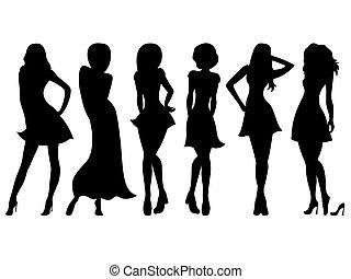 adelgaçar, silhuetas, mulheres, atraente, seis
