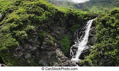adembenemend, bomen, rotsen, groot, groene, watervallen