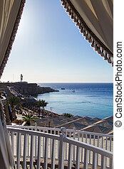 adembenemend, hotel, terras, zee, luxe, aanzicht