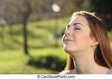 ademhaling, ontspannen, park, diep, vrouw beeltenis