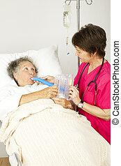 ademhalings, therapie, in, ziekenhuis