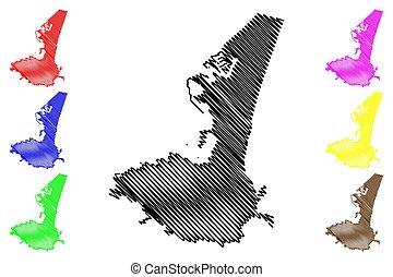 Aden City (Republic of Yemen) map vector illustration, scribble sketch City of Aden map