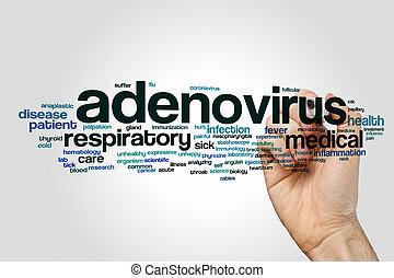 Adenovirus word cloud concept on grey background