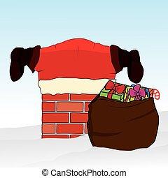 aderido, claus, chimney., experiência., vetorial, santa, natal