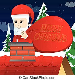 aderido, claus, chimney., santa