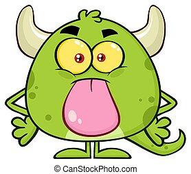 aderindo, cute, monstro, personagem, caricatura, verde,...