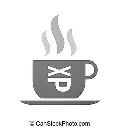 aderindo, emoticon, xícara café, texto, isolado, rosto, língua, ícone